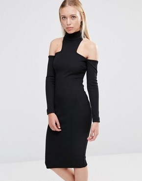 City Goddess High Neck Cold Shoulder Midi Dress Black Asos.com