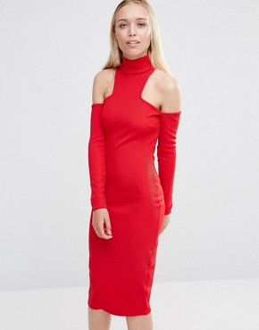 City Goddess High Neck Cold Shoulder Midi Dress Red
