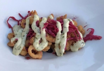 Calamari with sriracha pickled cabbage, cilantro lime aioli @PearlzOysterbar