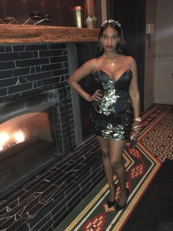 Fireplace inside 1Kept. Dress by ASOS