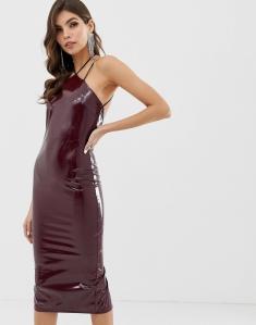 ASOS Design PU Strappy Back Halter Midi Dress